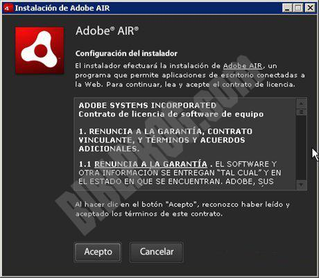 Screenshot Adobe AIR