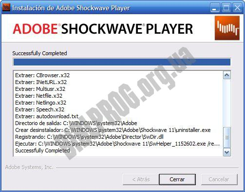Screenshot Adobe Shockwave Player
