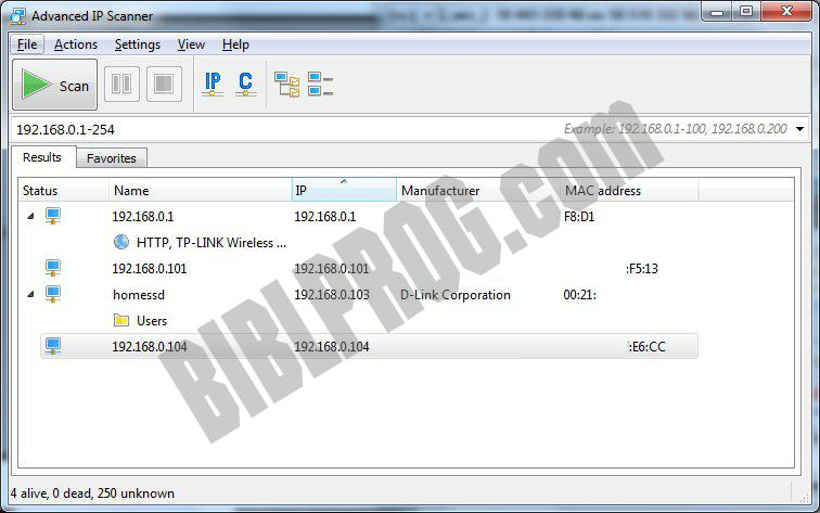 Screenshot Advanced IP Scanner