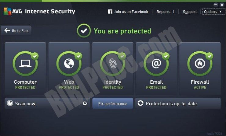 Screenshot AVG Internet Security