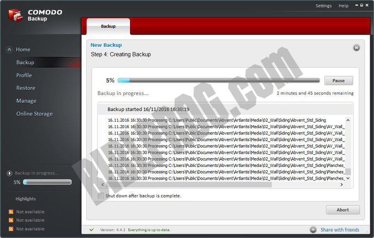 Screenshot Comodo BackUp