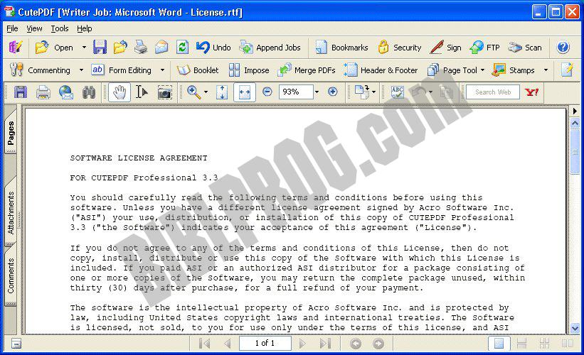 Screenshot CutePDF Writer