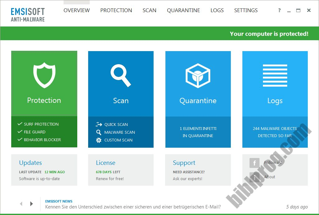 Screenshot Emsisoft Anti-Malware