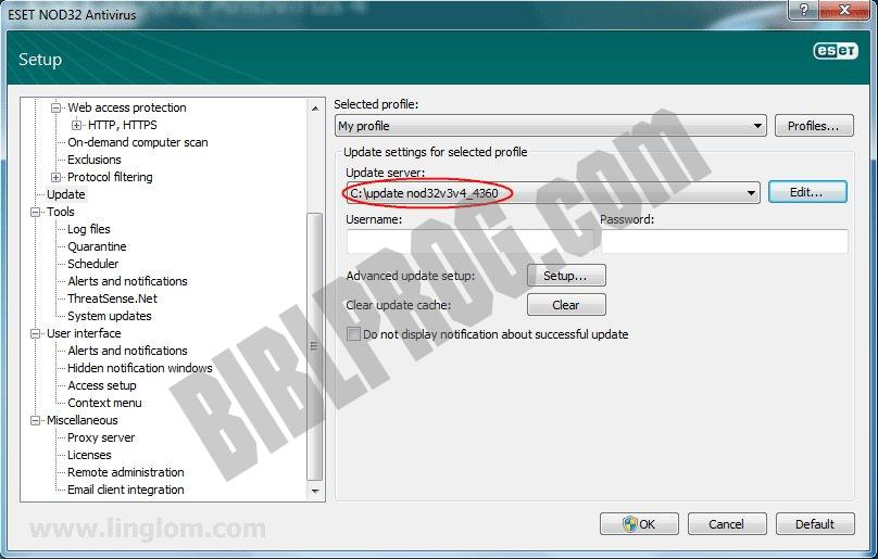 Screenshot ESET NOD32 Antivirus Offline Updates
