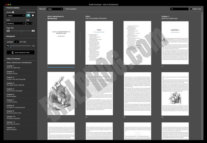 Screenshot Kindle Previewer
