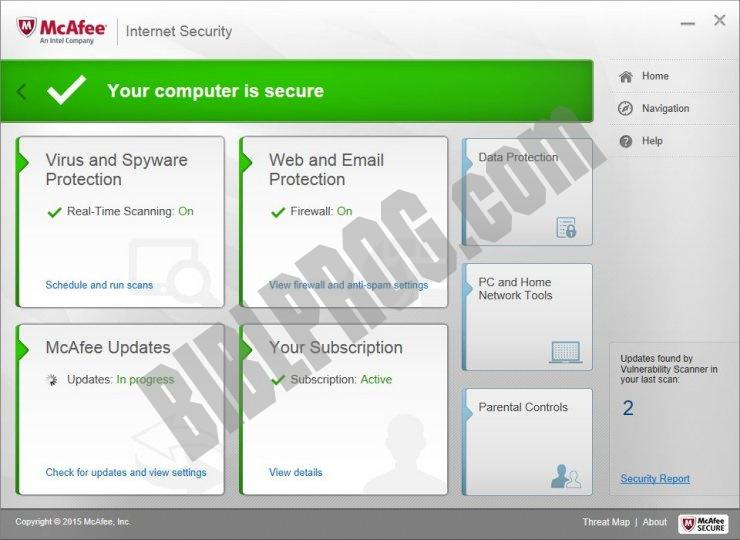McAfee Internet Security Screenshot