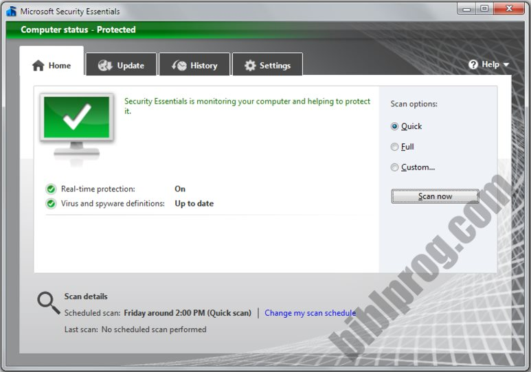 Screenshot Microsoft Security Essentials