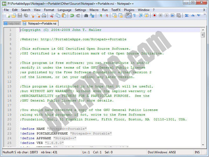 Screenshot Notepad++