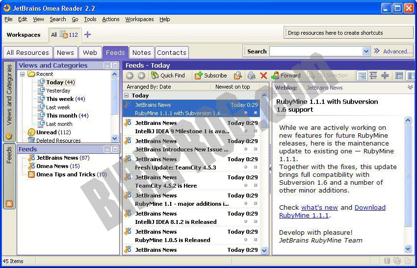 Screenshot Omea Reader
