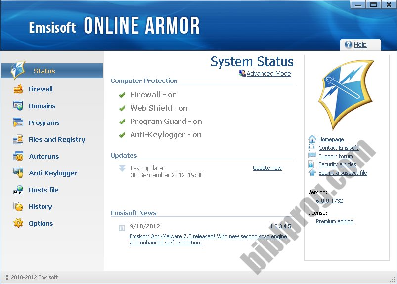 Screenshot Online Armor Free