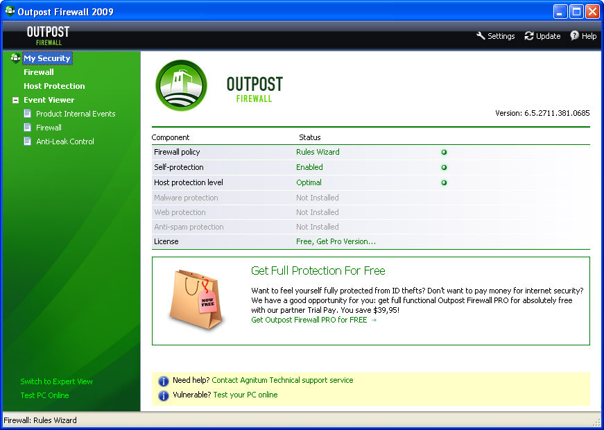 Screenshot Outpost Firewall Free