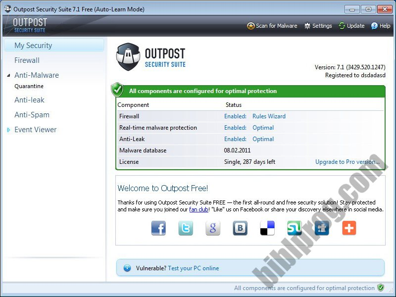 Outpost Security Suite Free Screenshot