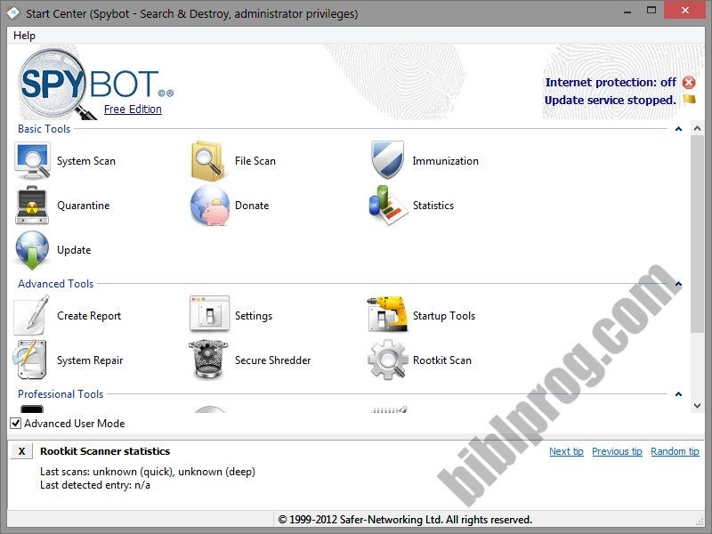 Screenshot Spybot - Search & Destroy