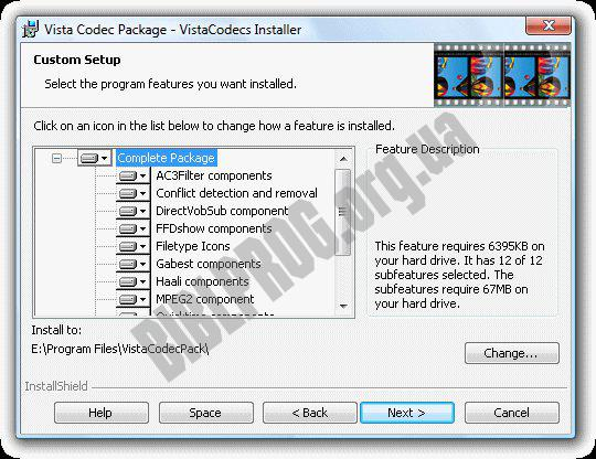 Screenshot XP and Vista Codecs