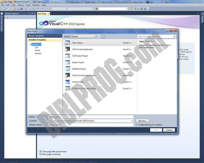 Screenshot Visual C++ 2010 Express