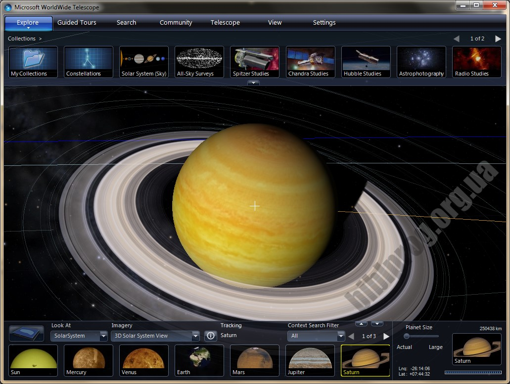 Screenshot WorldWide Telescope