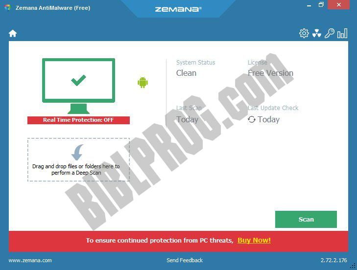 Screenshot Zemana AntiMalware Free