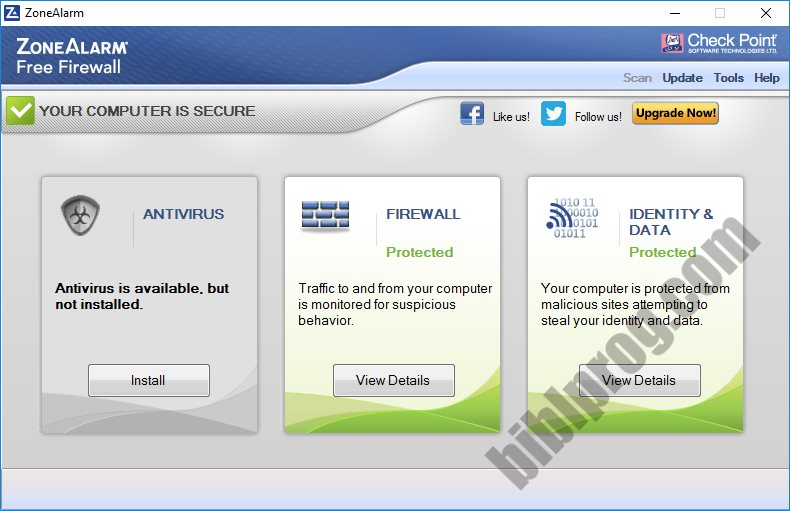 Screenshot ZoneAlarm Free Firewall